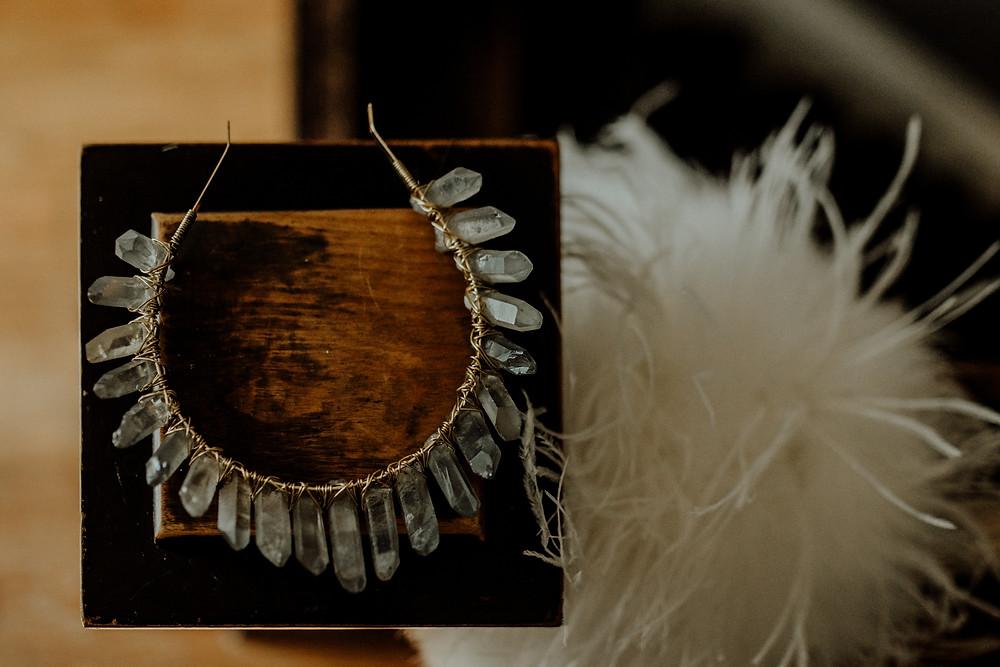 quartz crystal bridal crown photo taken in jackson, michigan by alternative wedding photographer - little blue bird photography.