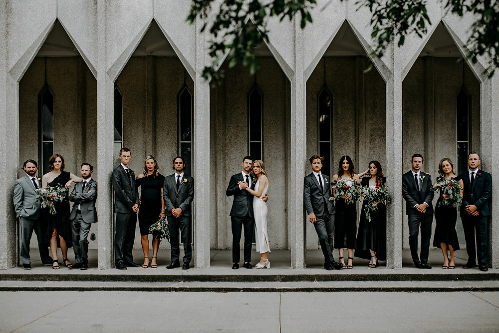 dramatic detroit wedding party photo taken by little blue bird photography, detroit wedding photographer