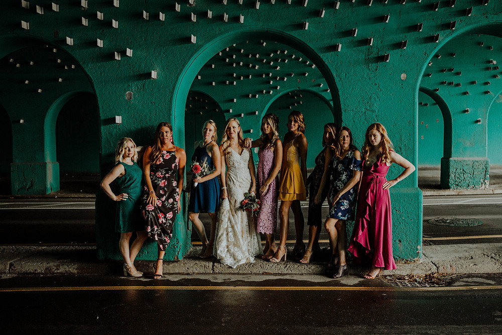 bridesmaids with mismatched dress - photo by detroit area wedding photographer little blue bird photography