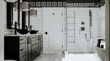 Modern black and white bathroom - yes please.