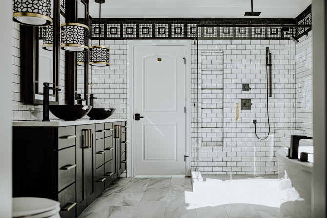 Modern black and white bathroom - yes please.