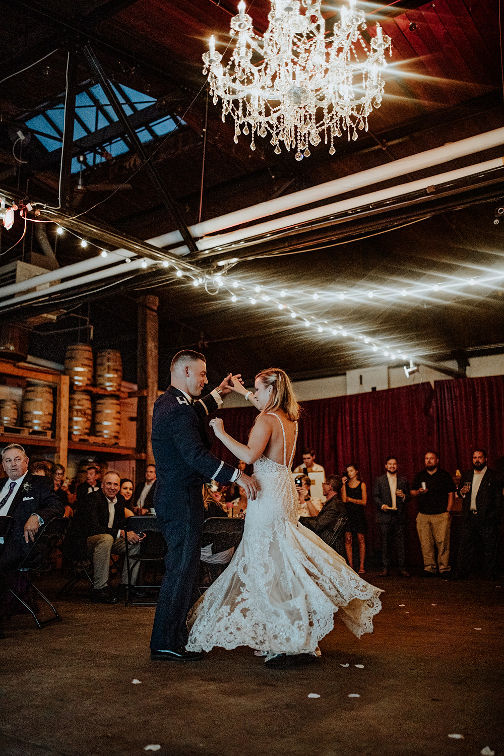 wedding photo at valentine's distillery. photo taken by little blue bird photography.