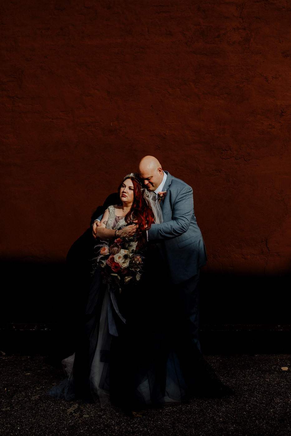 moody wedding photo taken in jackson, michigan by little blue bird photography.