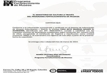 Certificado de Registro y Clasificación como entidad museal CASA BETO MURGAS MUSEO EL ACORDEÓN