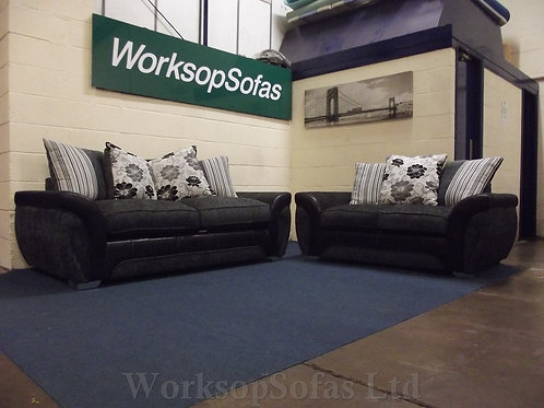 Reduced - 'Lowell' 3 & 2 Black And Grey Seater Sofa Suite