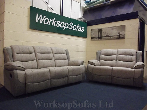 'Paige' 3 & 2 Seater Light Grey Reclining Sofa Suite