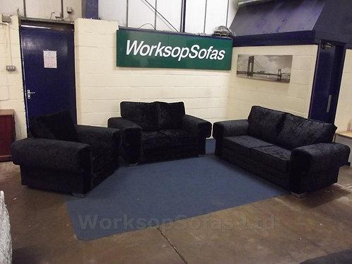 Verso Black Velvet 3 Seater 2 Seater & Armchair Sofa Suite