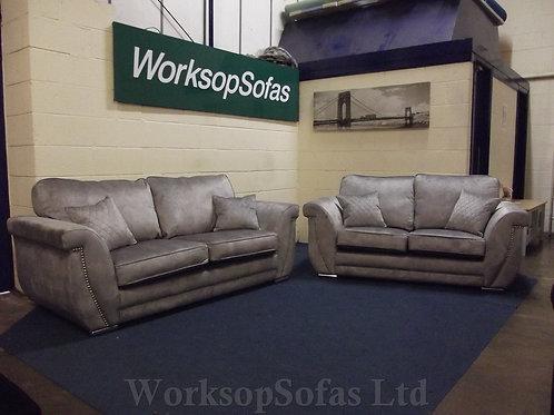 'Elle' Silver Grey 3 & 2 Seater sofa Suite
