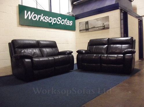 'Moreno' Black Leather Power Reclining 2 x 2 Seater Sofas