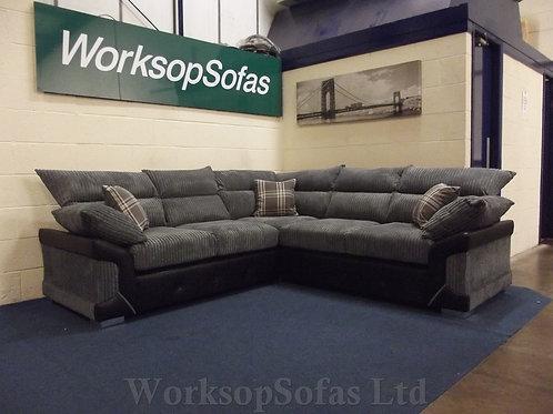 'Logan' Grey And Black Corner Sofa