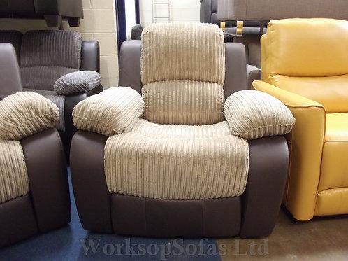 'Bel Air' Nutmeg Cord Reclining Armchair