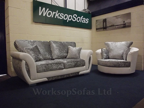 'Genoa' Silver Crushed Velvet And White 3 Seat Sofa And Swivel Chair