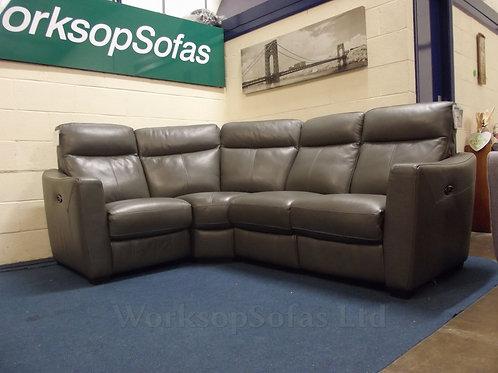 Cressida Grey Leather Power Reclining Corner Sofa