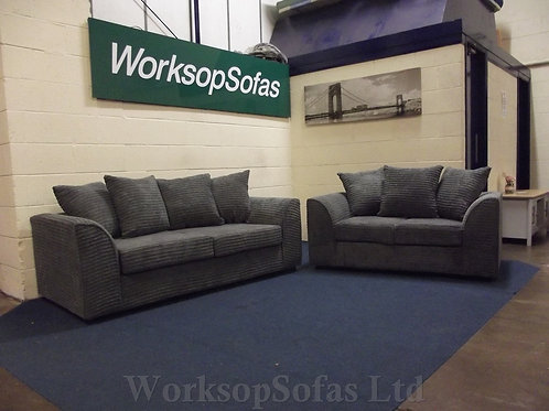 Byron Grey Cord 3 & 2 Seater Sofa Suite