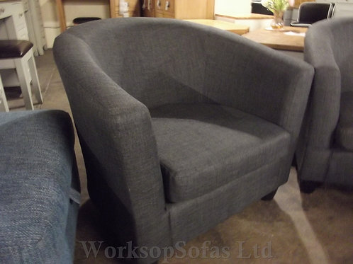 Grey Fabric Tub Chair