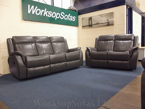 New Hampshire Grey 3 & 2 Seater Reclining Sofa Suite