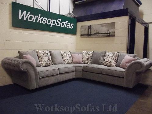 'Roma' Grey And Pink Corner Sofa