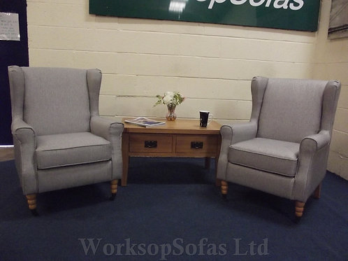 Pair Of Grey Wingback Armchairs