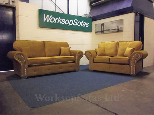 'Chesterton' Mustard 3 & 2 Chesterfield Style Sofa Suite