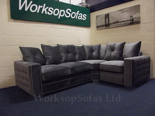 'Stamford' Grey Velvet Corner Sofa