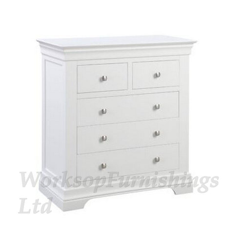 Cambridge White 2 Over 3 Drawer Chest