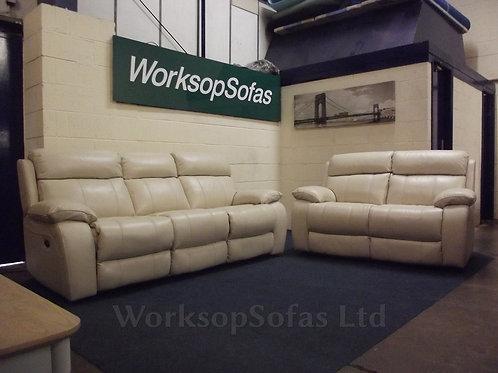 'Moreno' Cream Leather 3 & 2 Seater Sofa Suite