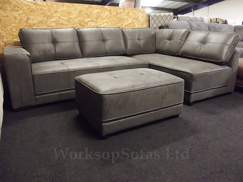 'Colorado' Grey Corner Sofa And Footstool
