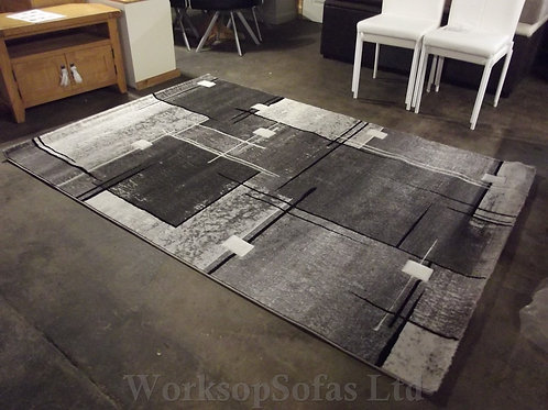 Grey And Black Geometric Design Large Rug By 'Paco Home'
