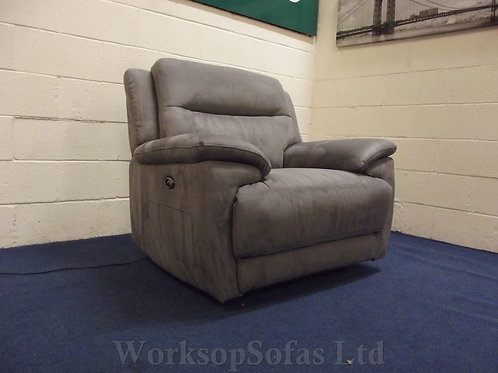 'Touch' Grey Fabric Power Reclining Armchair
