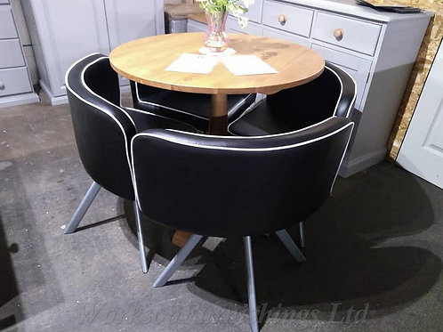 Black Faux Leather 4 x Quarter Moon Dining Chairs