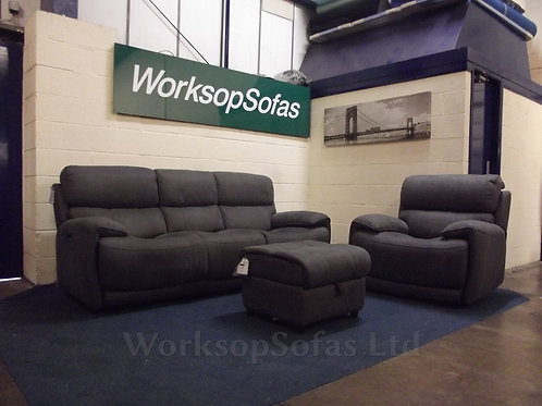 'Link' Grey Power Reclining 3 Seater Sofa, Armchair And Storage Footstool
