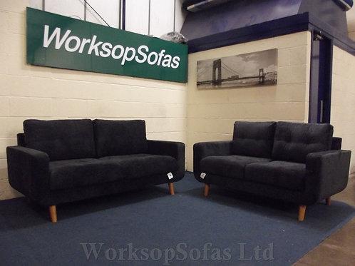 'Aurora' Black Fabric 3 & 2 Seater Sofa Suite