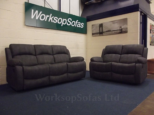 Alaska Grey Reclining 3 & 2 Seater Sofa Suite