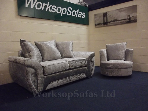 2 Seater Sofa And Swivel Tub Chair In Silver Crushed Velvet