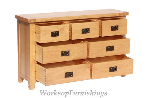 Portland Oak 3 Over 4 Drawer Chest