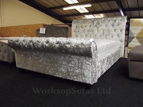 Celine Kingsize Silver Crushed Velvet Bed Frame