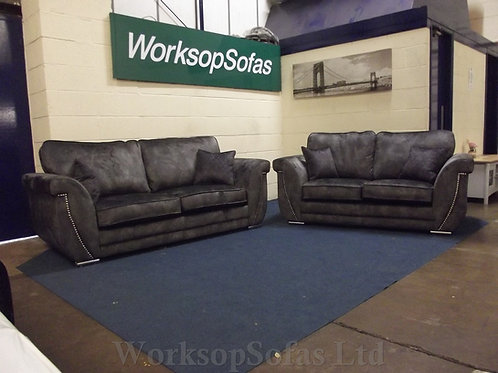 'Elle' Charcoal Grey 3 & 2 Seater sofa Suite