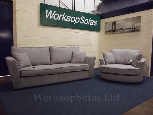 'Bentley' Grey 4 Seater Sofa And Swivel Chair