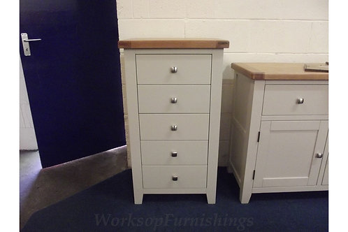 Hampshire Grey And Oak Tall 5 Drawer Chest