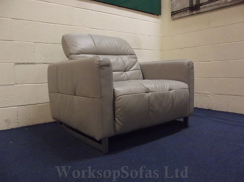'Marmont' Grey Leather Armchair