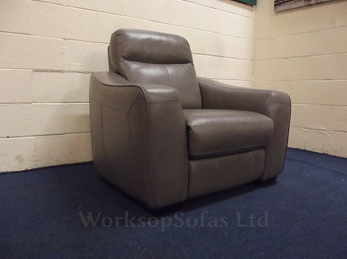 'Cressida' Grey Leather Power Reclining Armchair