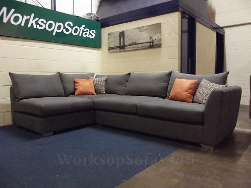 'Metro' Grey Left Hand Chaise Corner Sofa