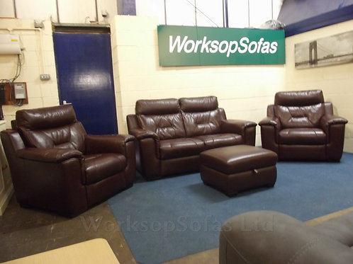 'Editor' Brown Leather 2 Seater Sofa And 2x Armchair Suite With Footstool