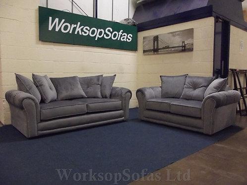 'Alana' 3 & 2 Grey Velvet Sofa Suite