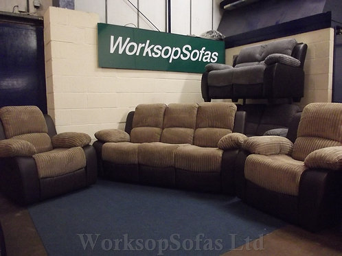 'Bel Air' Nutmeg Cord 3 Seater Sofa And 2 x Armchair Suite