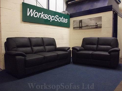 'Kansas' Black Leather 3 & 2 Seater Sofa Suite
