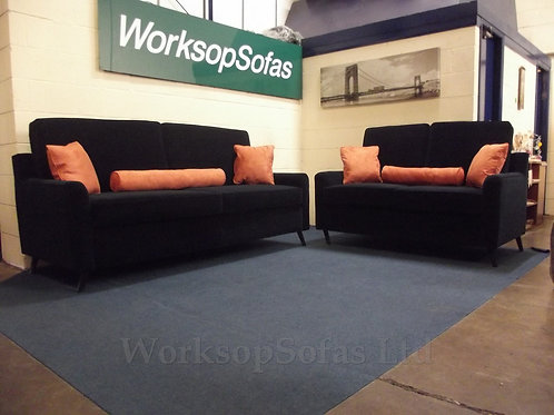 'Royale' Navy And Orange Velvet 3 & 2 Seater Sofa Suite