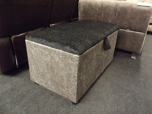 Grey And Black Storage Ottoman