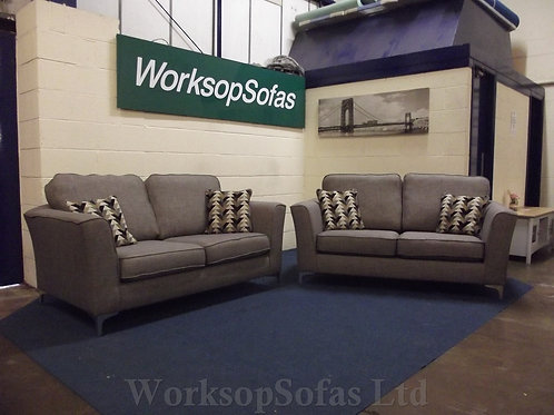 'Layla' Grey Fabric 2 x 2 Seater Sofa suite