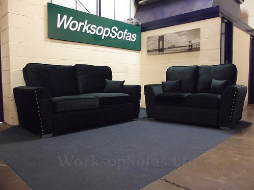 'Amy' Green Velvet 3 & 2 Seater Sofa Suite